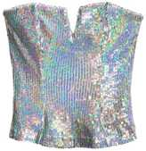 H&M Sequined Bustier - Silver-colored - Ladies