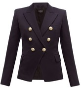 Balmain Double-breasted Wool-twill Blazer - Womens - Navy