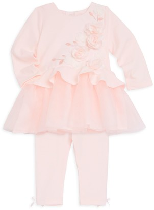 Miniclasix Baby Girl's Rosette Peplum Top and Leggings