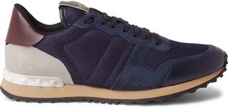 Valentino Rockrunner Mesh, Leather And Suede Sneakers