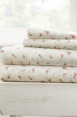 IENJOY HOME The Home Spun Premium Ultra Soft Floral Pattern 4-Piece Queen Bed Sheet Set - Pink