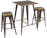 Lumisource 3 Piece Oregon Industrial Pub Set Matte Grey Metal with Medium Brown Wood Top