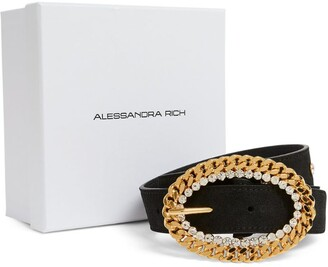 Alessandra Rich Leather Chain-Buckle Belt