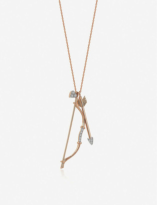 THE ALKEMISTRY x Kismet by Milka bow and arrow 14ct rose-gold and diamond necklace