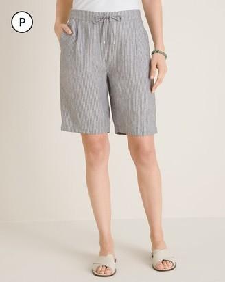 Chico's Petite Linen Tie-Front Cross-Dye Shorts