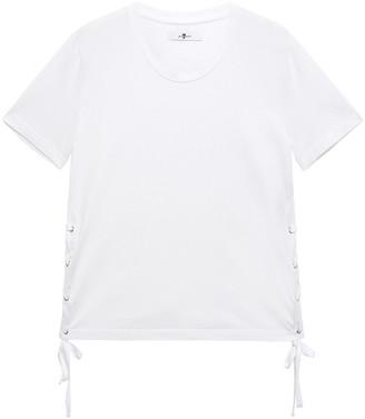7 For All Mankind Lace-up Cotton-jersey T-shirt