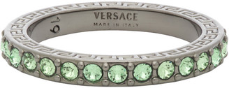 Versace Silver and Green Embedded Band Ring
