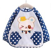 Kylin Express Waterproof Baby Long-sleeves Feeding Clothes Baby Bibs, Bear Bleu