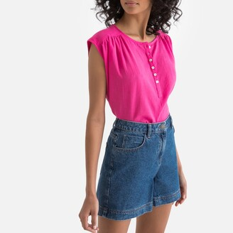 La Redoute Collections Grandad-Collar Sleeveless Shirt