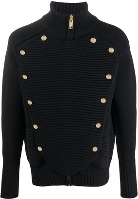 Les Hommes Double Breasted Knit Cardigan