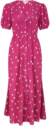 Under Armour Spot Print Midi Dress in Sustainable Viscose Pink