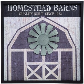 Transpac Wood Multicolor Spring Homestead Barns Layered Barn Wall Decor