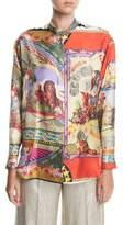 Etro Silk Twill Engineer Circus-Print Shirt