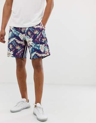 Replay dark hibiscus flower print shorts with sporty stripes-Navy