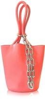 Alexander Wang Fluo Coral Leather Roxy Mini Bucket Bag