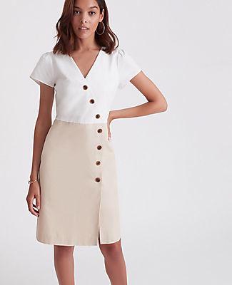Ann Taylor Petite Button Trim V-Neck Sheath Dress