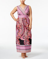 NY Collection Plus Size Surplice Maxi Dress