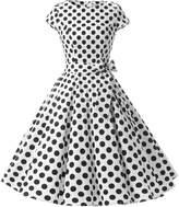 Dressystar Vintage 1950s Polka Dot and Solid Color Prom Dresses Cap-sleeve L