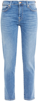 7 For All Mankind Cropped Studded Mid-rise Slim-leg Jeans