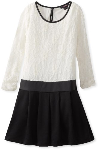 My Michelle Big Girls' Long Sleeve Lace-to-Knit Dress with Faux Leather Trim