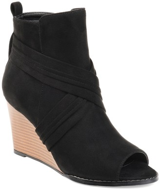 Journee Collection Sabeena Wedge Peep Toe Bootie