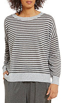Eileen Fisher Bateau Neck Long Sleeve Fine Tencel Alpaca Stripe Box-Top