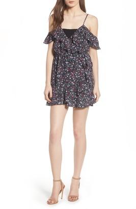 Lovers + Friends Skye Cold Shoulder Wrap Mini Dress