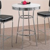 Coaster Home Furnishings Coaster Retro Fountain Style Bar Table With White Top And Chrome Finish