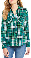 Takara Plaid Roll-Tab Sleeve Flannel Shirt