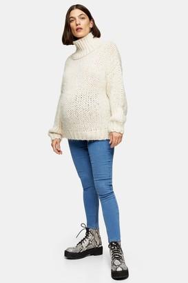 Topshop Womens **Maternity Bleach Over The Bump Joni Jeans - Bleach Stone