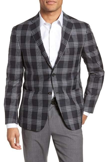 Hickey Freeman H BY Modern Fit Plaid Wool & Silk Sport Coat