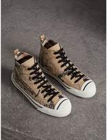 Burberry Doodle Print Cotton Gabardine High-top Trainers , Size: 37.5