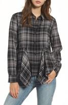 BP Women's Plaid Godet Detail Shirt