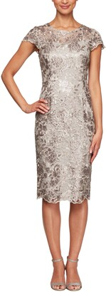 Alex Evenings Cap Sleeve Sequin Embroidered Sheath Dress