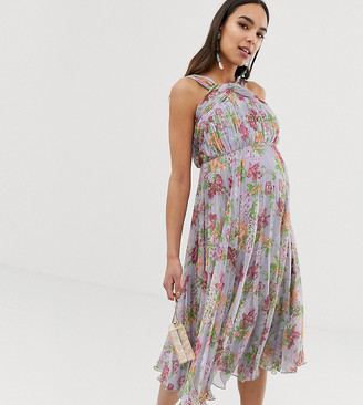 ASOS DESIGN Maternity pleated high neck midi dress in summer floral print