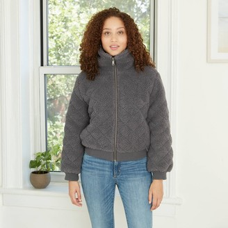 Knox Rose™ Women's Quilted Sherpa Jacket - Knox RoseTM Charcoal Gray