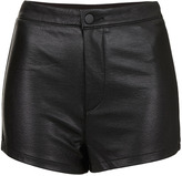 Topshop Leather Look High Waist Shorts