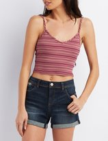 Charlotte Russe Striped V-Neck Crop Top
