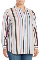 Lord & Taylor Plus Striped Linen Button-Down Shirt