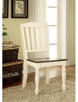 Hokku Designs Laureus Slat Back Side Chair in Vitage White/Dark Brown