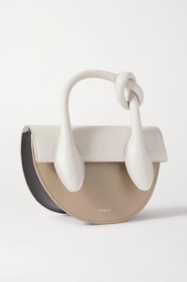 Yuzefi Dolores Knotted Color-block Leather Shoulder Bag - Off-white