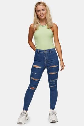 Topshop Womens Petite Mid Stone Ripped Joni Skinny Jeans - Mid Stone