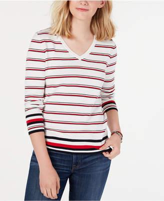 Tommy Hilfiger Cotton Striped V-Neck Sweater