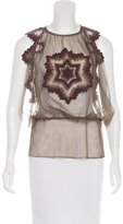 Jean Paul Gaultier Embroidered Tulle Top