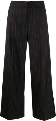 McQ Swallow Pinstriped High-Waisted Trousers