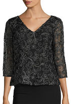 Alex Evenings Metallic Embroidered Top