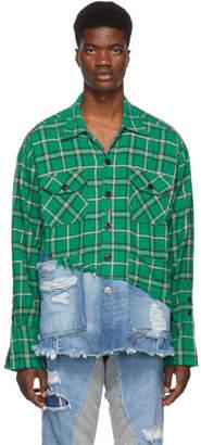 Greg Lauren Green and Blue 50/50 Plaid/Denim Studio Shirt