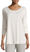 Hanro Cashmere-Blend Long-Sleeve Lounge Top, Crystal Gray