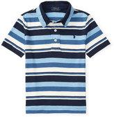 Ralph Lauren Short-Sleeve Striped Jersey Polo Shirt, Blue, Size 5-7