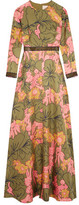 Roksanda Kamanev Leather-Trimmed Floral-Print Silk-Twill Gown